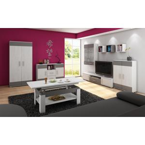 MEBLOCROSS Solar obývacia izba craft biely / grafit