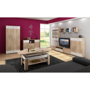 MEBLOCROSS Solar obývacia izba sonoma svetlá / biely lesk