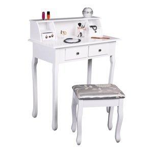 TEMPO KONDELA Rodes New toaletný stolík s taburetkou biela