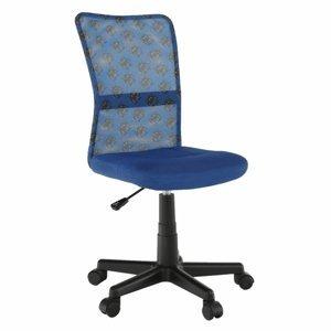 KONDELA Gofy detská stolička na kolieskach modrá / vzor / čierna