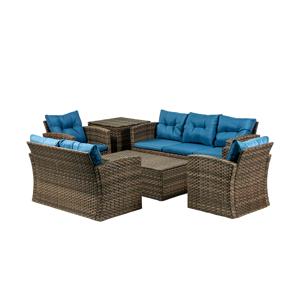 NABBI Olivonder záhradný nábytok z umelého ratanu hnedá / modrá