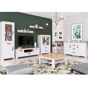TEMPO KONDELA Lanzette obývacia izba biela alba / dub craft zlatý