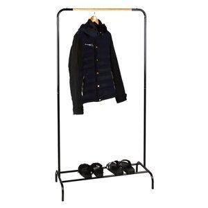 KONDELA Rapso kovový stojan na šaty čierna / prírodná