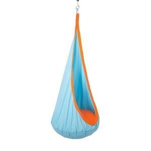 KONDELA Siesta Typ 1 závesné hojdacie kreslo modrá / oranžová