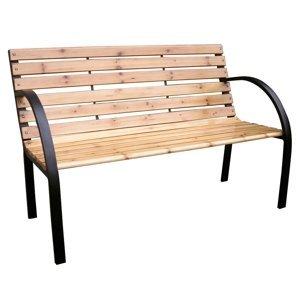 KONDELA Lacea záhradná lavička čierna / prírodná