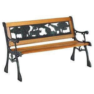 KONDELA Nadaza detská lavička čierna / prírodná