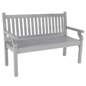 KONDELA Kolna drevená záhradná lavička 124 cm sivá