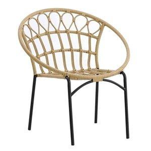 KONDELA Eldia záhradná stolička prírodná / čierna