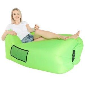 KONDELA Lebag nafukovací sedací vak zelená