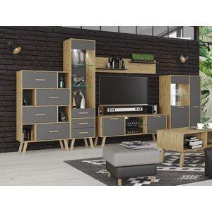 NABBI Vilander obývacia izba s osvetlením sivý grafit / dub artisan