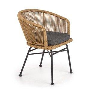 HALMAR K400 záhradná stolička prírodná / sivá / čierna
