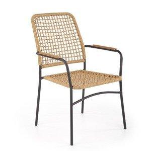 HALMAR K457 záhradná stolička prírodná / čierna