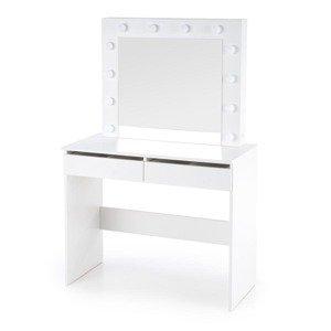 HALMAR Hollywood toaletný stolík s osvetlením biela