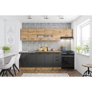 HALMAR Perla 260 kuchyňa dub artisan / čierna / sivá