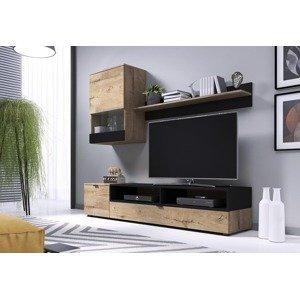 HALMAR Snap obývacia stena dub lefkas / čierna