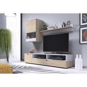 HALMAR Snap obývacia stena dub sonoma / biela