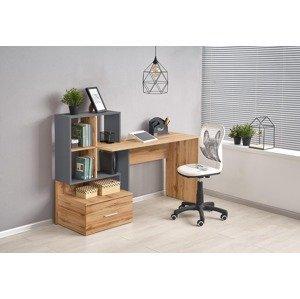 HALMAR Grosso písací stôl s regálom dub wotan / antracit