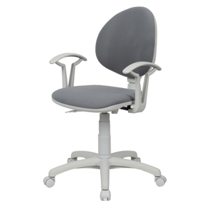 NOWY STYL Smart White detská stolička na kolieskach s podrúčkami šedá (V28)