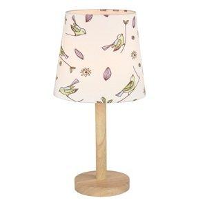 TEMPO KONDELA Qenny Typ 7 stolná lampa prírodná / vzor vtáky
